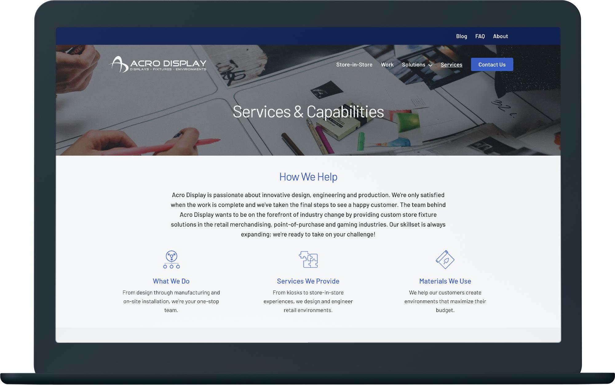 computer mockup showing a custom made website design
